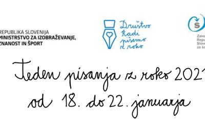 Teden pisanja z roko na SŠS – 18.-22. 1. 2021