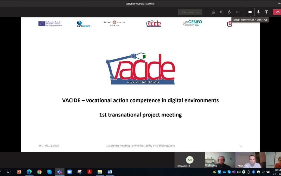 Vacide: MPS-1/TPM-1 – Prvo mednarodno projektno srečanje, 4. in 5. november 2020, VHS Bildungswerk GmbH, Gotha, NEM
