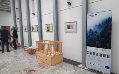 Plakati in izdelki iz projekta Alptrees na razstavi